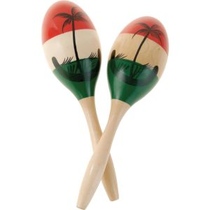 Maracas sometimes called rumba shakers are a native instrument of Latin America. They are percussion instruments. Class= Idiophones and are usually played in pairs. They consist of a dried calabash gourd shell or coconut shell filled with seeds or dried beans. They may also be made of leather, wood, or plastic.